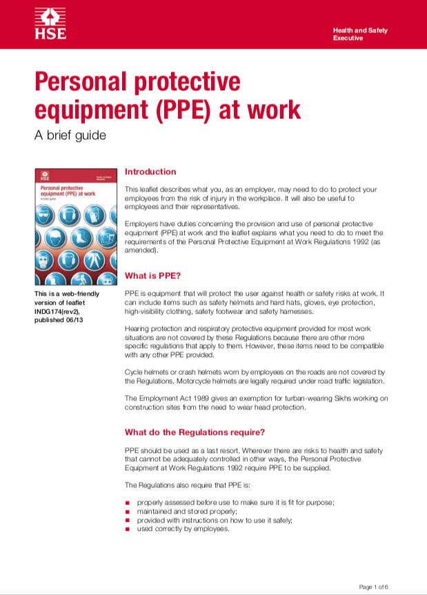 A Short Guide to The Personal Protective Equipment at Work Regulations 1992
