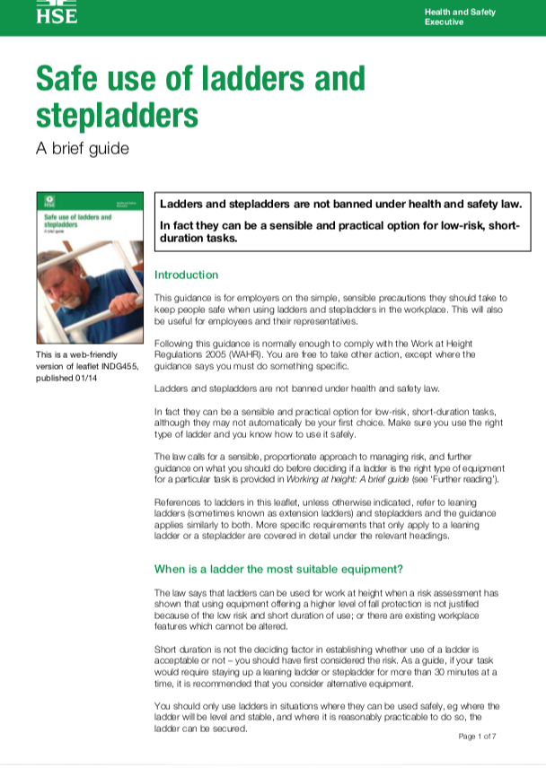 Safe use of ladders and stepladders