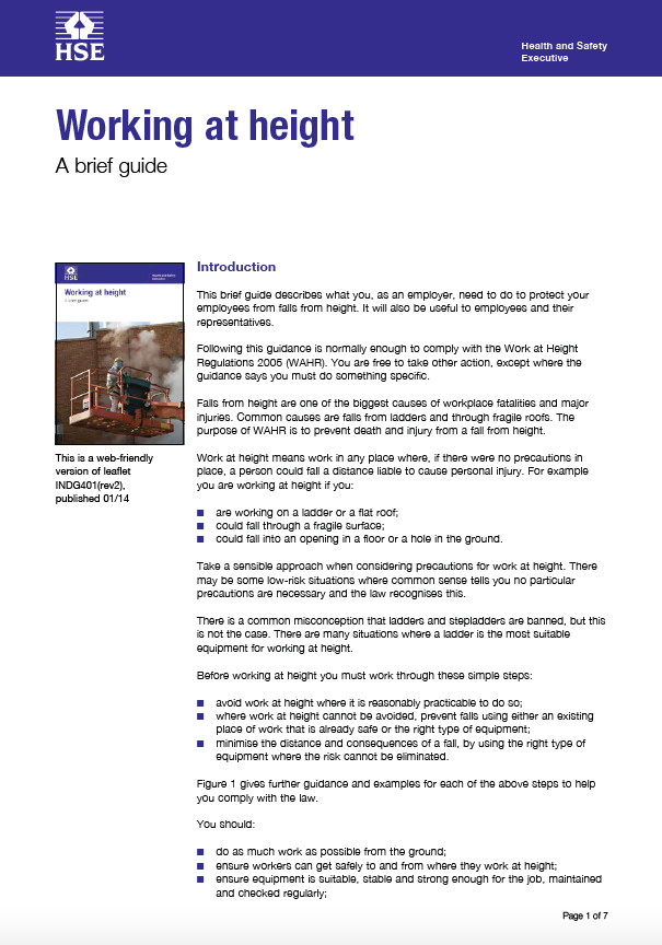 The Work at Height Regulations 2005 - A Brief Guide